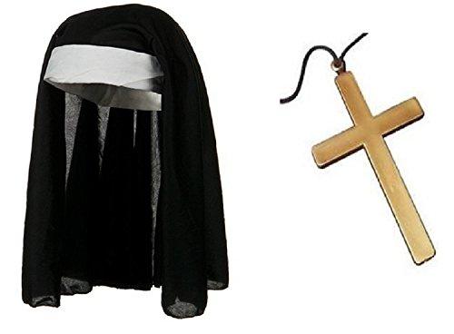 Nicky Bigs Novelties Nun Habit Hat and Gold Cross Necklace Rosary Catholic Crucifix Costume (Medieval Nun Costume)