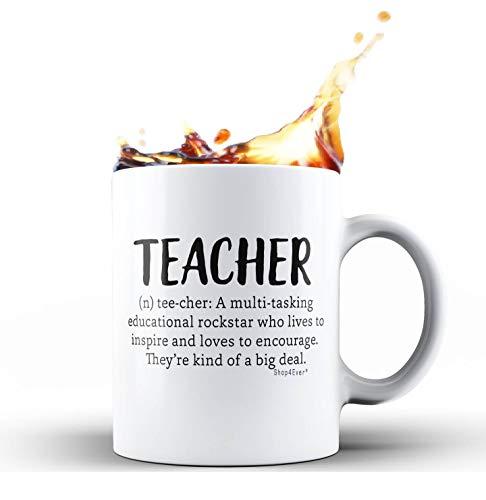 Shop4Ever Teacher Definition Ceramic Coffee Mug Tea Cup Gift ~ Teacher Appreciation Day ~ (White, 11 oz.)