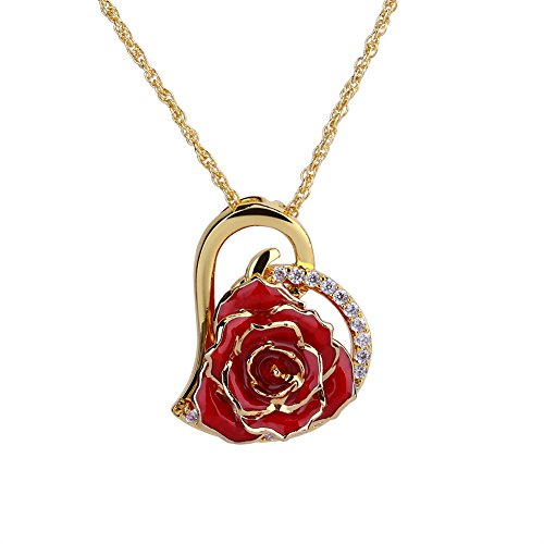 ZJchao 24K Gold Plated Rhinestone Heart Shaped Red Rose Pendant Necklace for Women (Red Gold Necklace)