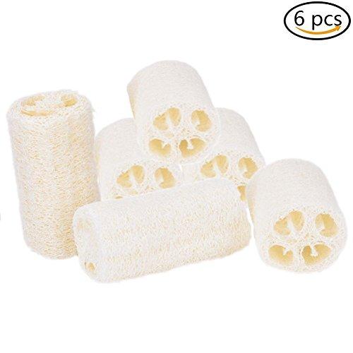 Natural Loofah Sponge (Ioffersuper 6 Pack Exfoliating Natural Loofah Bath Body Shower Sponge Scrubber)