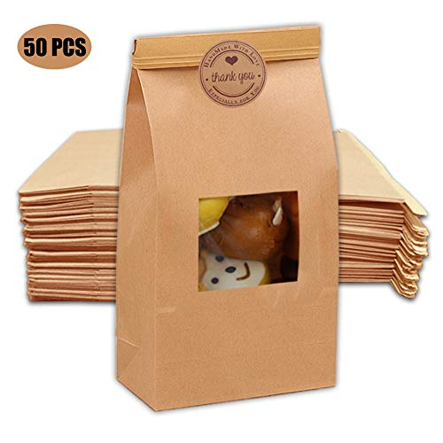 "9x5.9x2.8"" Large Kraft Food Bag with Sticker, Pack of 50,Resealable Waxed Kraft Bag, Paper Treat Bags with Window, Bakery Bags, Cookie Popcorn Bags, Tin Tie Tab Lock Bags (Large 9""Hx5.9""Lx2.8""W)"