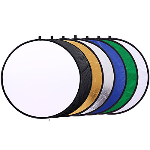 24 inch (60cm) Round Collapsible Light Reflectors for Photography 7 in 1 Portable Sun Reflector for Studio Multi Photo Disc White,Blue,Green,Gold,Silver,and Black by Konseen