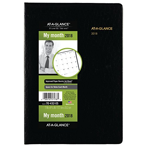 "AT-A-GLANCE Monthly Planner, January 2018 - January 2019, 7"" x 10"", Black (7043205)"