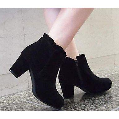 Botas de mujer invierno PU Confort Casual Beige Marrón Oscuro Negro de 2A-2 3/4 pulg. Black