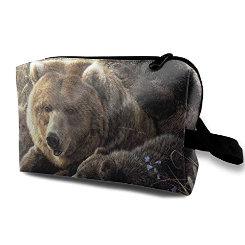 Travel Makeup Cosmetic Bag Brush Pouch Bear Mom And Three BearBabies Zipper Pen Organizer Carry Case