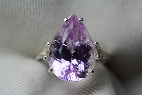 Kunzite Ring, Certified 9.84 Carat Pink Kunzite Solitaire, Sterling Silver, Real Genuine Natural Jewelry, Pear Cut, Appraised 1,100.00 ()