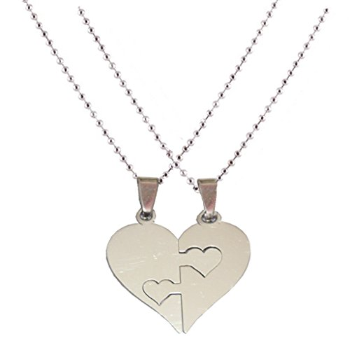 Men Style Couple his and her Plain Heart Shape Necklaces Gift Silver 316 Stainless Steel Heart Shape Pendent For Men And Women