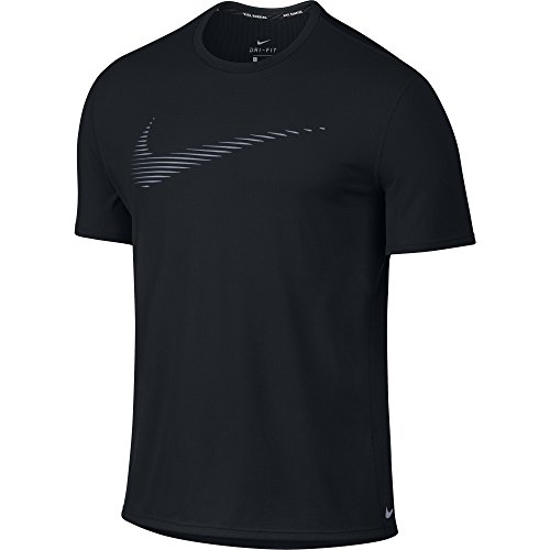Men's Nike Dry Contour Running Top Black Size X-Large