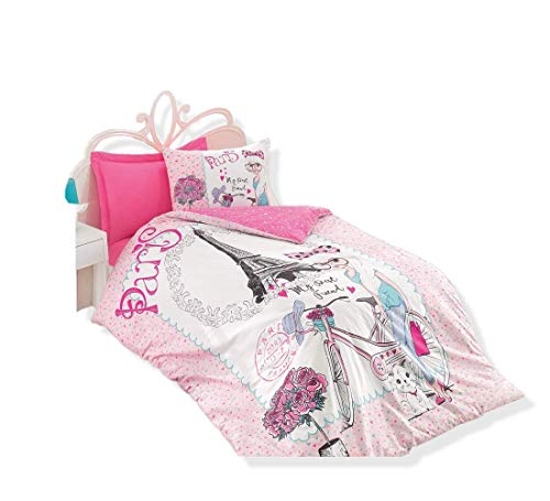 OZINCI 100% Cotton Paris Bedding Set, Bicycle and Eiffel Tower Themed Single/Twin Size Quilt/Duvet Cover Set with Fitted Sheet, Pink, 3 Pieces (Cover Duvet Sets Canada)