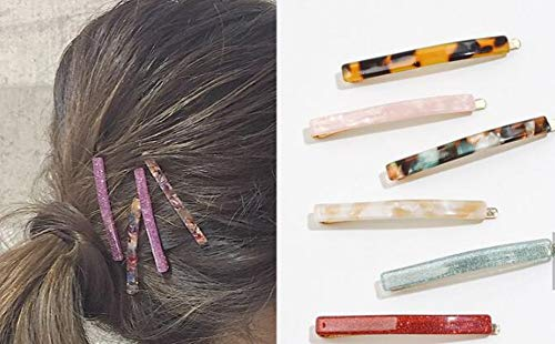 - Women's Hair Clip Side Clip Hairpin Bobby Pins Toshine Mini Marble Pattern Bangs Clip Vintage Acetate Hair Clip Set Gold Alloy Barrettes Fashion Sweet Hair Accessories for Women Girls 5PCS