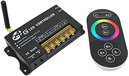 Tiamu 2.4G Rf Rgb Led Strip Controller, Dc5V 12V 24V Rgb Led Module, Luz de Control Remoto de BateríA, Control Remoto de Prensa Rf201