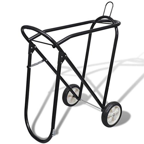 Festnight Foldable Horse Floor Saddle Rack Stand with Wheels, Metal Steel