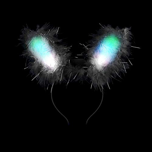 Fun Central G243 G243 LED Bunny Ears Premium, Light up Bunny Ears, Glow in The Dark Bunny Ears, LED Ears, LED Eastern Bunny Ears, Glow Bunny Ears - Black -