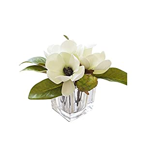MEDA BLOOMS Faux Magnolia Arrangement in Cube Glass Vase