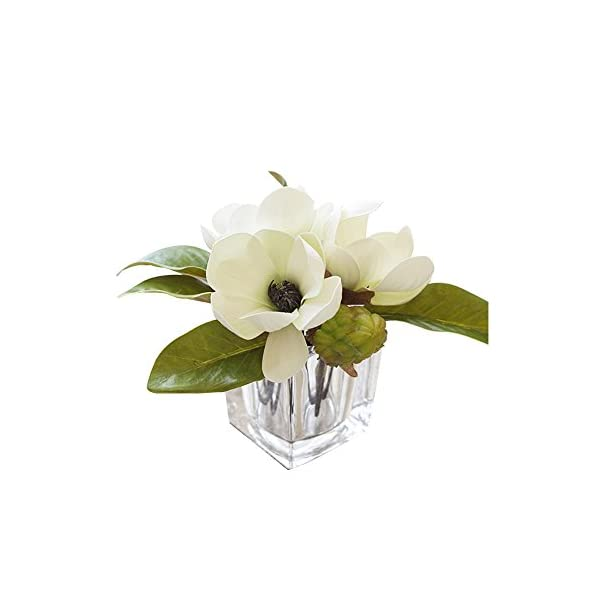 MEDA BLOOMS Faux Magnolia Arrangement in Cube Glass Vase