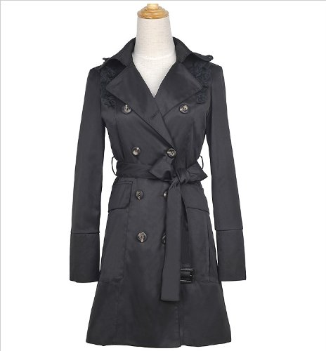 Women&39s Double Breasted Fashion Black Trench Coat Mac Jacket size
