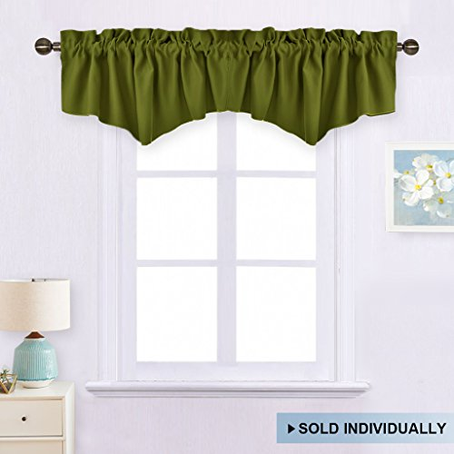 Blackout Tier Window Valance for Bedroom - 52-inch by 18-inch Ascot Rod Pocket Valance for Kitchen by NICETOWN (Olive, 1 Pack)