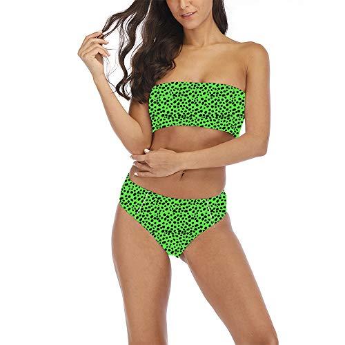 Women High Cut Summer Tropical Leaf Printed Swimwear Strapless Swimsuits Tube Top Bikini Set