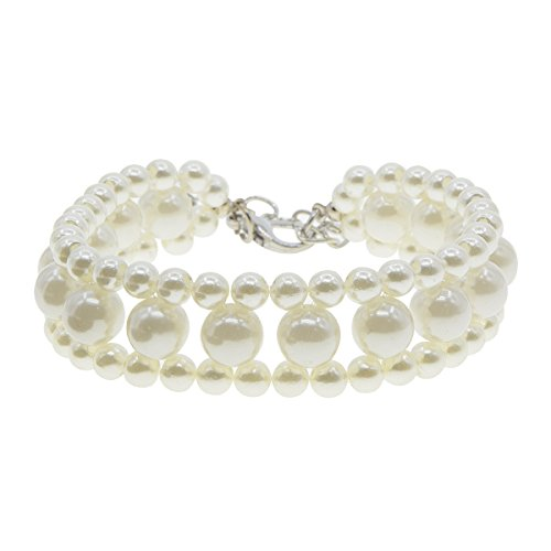 Saim Small Puppy Necklace Cat Dog Collar Jewelry with Imitation Pearls Pet Accessories - White