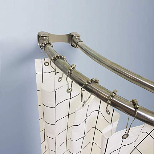 (Naiture Stainless Steel 60'' Double Curved Shower Curtain Rod, Brushed Nickel Finish)