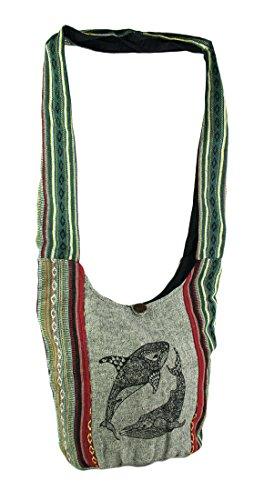 Henna Whale Tribal Stripe Boho Cotton Crossbody Bag