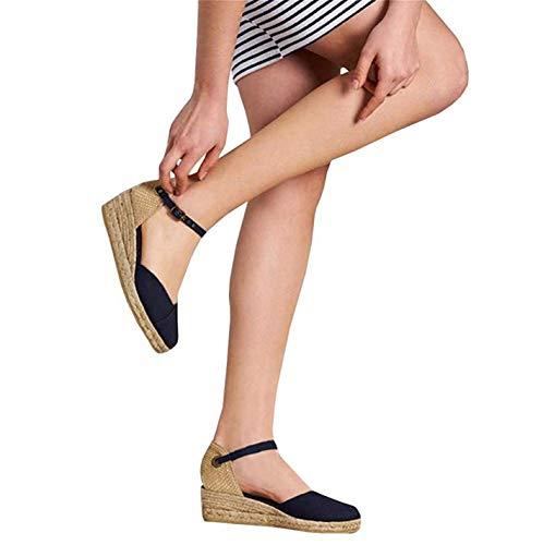 Mafulus Womens Espadrilles Wedge Sandals Closed Toe Ankle Strap Buckle Summer Platform Sandal ()