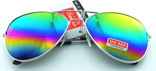 Unisex Vintage Retro Women Men Glasses Aviator Mirror Lens Sunglasses Fashion/Silver&multicolor