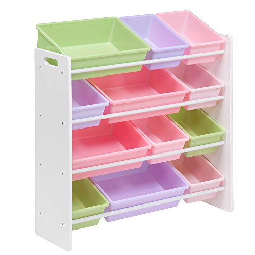 HoneyCanDo SRT-01603 Kids Toy Storage Organizer with Bins Pastel