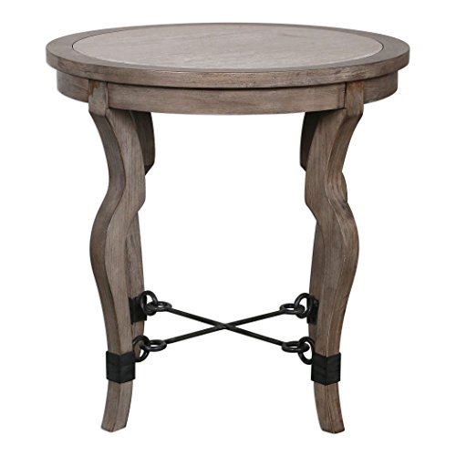 - MY SWANKY HOME Luxe Curved Weathered Wood Round Accent Table | Travertine Inlay Light Stone