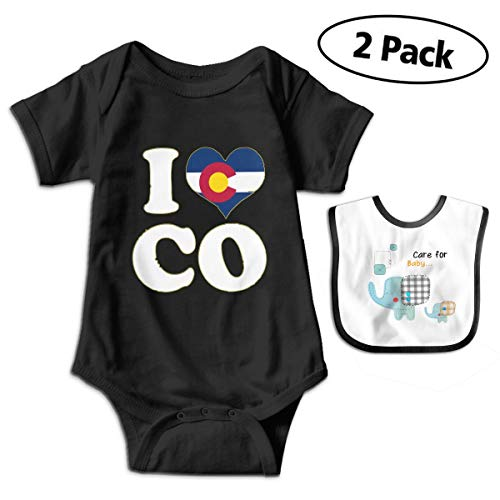 Popular I Heart Flag of Colorado Unisex Baby Bodysuits 100% Cotton Boys Girls 0-18 Months One-Piece Black ()