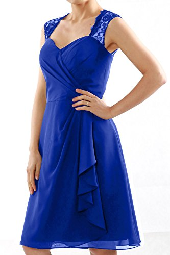 MACloth Women Short Bridesmaid Dress Lace Straps Wedding Party Cocktail Gown Royal Blue Rg9pJY4Q