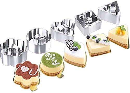 Moldes para tartas de acero inoxidable – Juego de 5 moldes para tartas de postre con anillos para hacer postres