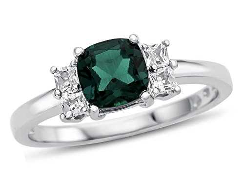 Finejewelers 6x6mm Cushion Created Emerald and White Topaz Ring 10 kt White Gold Size - Emerald Setting Ring Cut 6mm