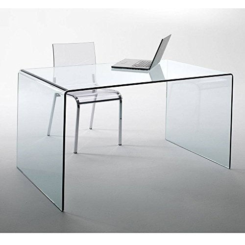 Design Glas Schreibtisch CHALET fromgebogenes Sicherheitsglas 120x60cm Home Office