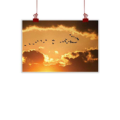 (duommhome Birds Art Oil Paintings A Flock of Migratory Canadian Geese Flying at Sunset Cloudy Sky Monochromic Art Painting Artwork of Living Room Bedroom Office W31 xL24 Brown Yellow )