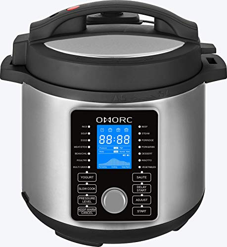Cheap OMORC DFB01 Multi-Use Pressure, Slow, Rice Cooker, Steamer, Saute, Yogurt Maker and Warmer, 5L, Silver
