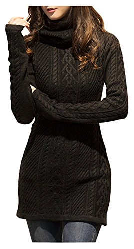 v28 Women Polo Neck Knit Stretchable Elasticity Long Sleeve Slim Sweater Jumper (US SIZE 6-10, ()