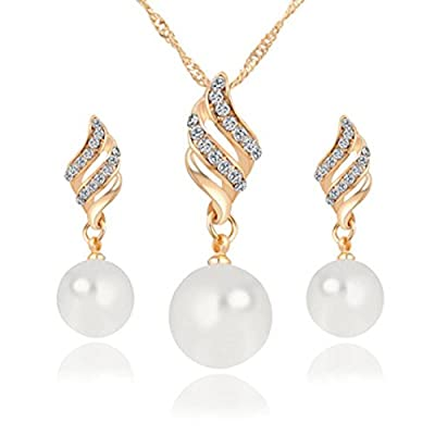 iLH® Clearance Deals Necklace+Earrings Jewelry Set Womens Luxury Spiral Shaped Pearl Stud Earrings&Necklace Jewelry by ZYooh