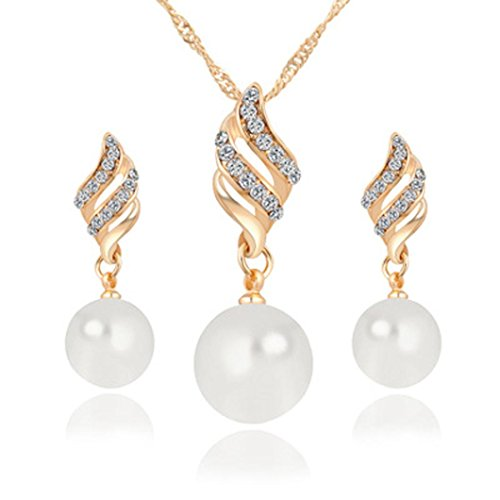 Clearance Deals Necklace+Earrings Jewelry Set Womens Luxury Spiral Shaped Pearl Stud Earrings&Necklace Jewelry by ZYooh (Gold)