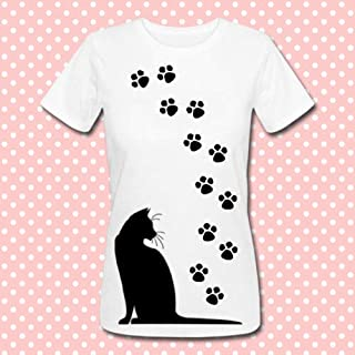 T-shirt donna Zampette di gatto, puoi scegliere il colore del gatto e delle zampette! Personalizzabile come vuoi!