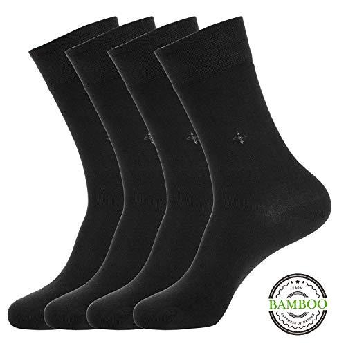 BUHA BAMBOO SOCKS - Mens Bamboo Series - Antibacterial, Scented, Seamless, and Soft Bamboo Socks for Men (Men Black Bamboo Socks 4 Pair Set Socks) (Black Socks Soft)