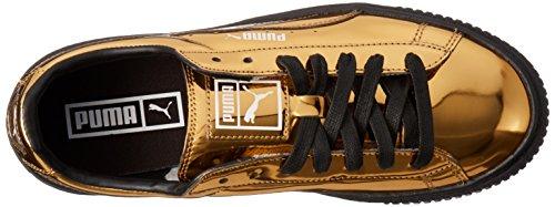 PUMA Damen Basket Plattform Metallic Fashion Sneaker Gold-Gold-Puma Schwarz