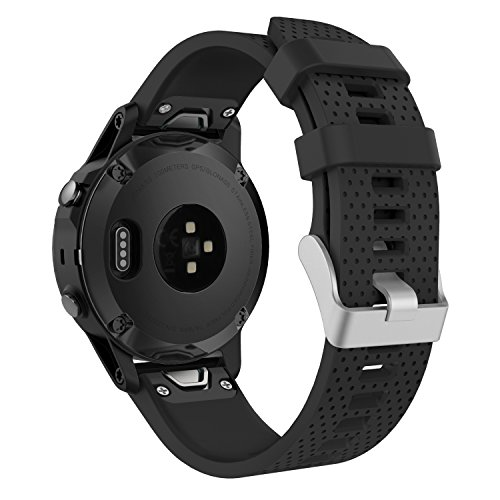 Cheap MoKo Garmin Fenix 5S Watch Band, Soft Silicone Replacement Watch Band Strap for Garmin Fenix 5S Multisport 42mm GPS Smart Watch, Fit 5.31″-8.46″, (NOT FIT Fenix 5 5X), Black
