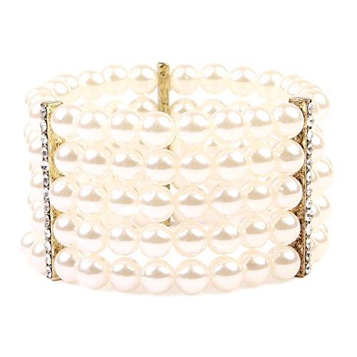 5 Strand Pearl Bracelet - MYS Collection 5 Line Pearl & Stretch Bracelet (Gold)