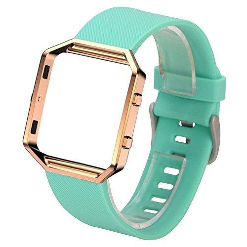 Fitbit Blaze Watch Band + Frame - SODIAL(R)Silicone Watch Band + Metal Frame For Fitbit Blaze Smart Watch Lake Green +Rose Gold