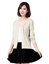 YMING Womens Long Sleeve V Neck Button Down Classic Knit Casual Cardigan Sweater