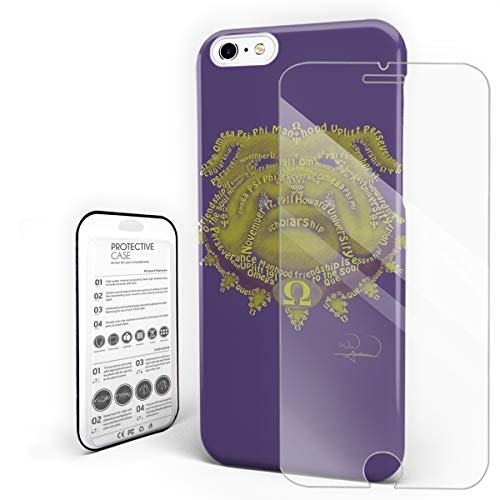 Compatible with iPhone 7 Plus Case and iPhone 8 Plus Case, Hard PC Back Phone Case with Tempered Glass Screen Protector Omega Psi Phi Shockproof Protective ()
