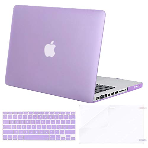 MOSISO Plastic Hard Shell Case & Keyboard Cover & Screen Protector Only Compatible with Old Version MacBook Pro 13 Inch (A1278, with CD-ROM), Release Early 2012/2011/2010/2009/2008, Light Purple