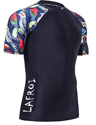 - LAFROI Men's Short Sleeve UPF 50+ Baselayer Skins Compression Rash Guard (So Vivid, XXXL)