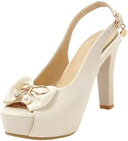 42276832a1e Artfaerie Womens Lolita Platform Slingback Peep Toe Block High Heel Pumps  with Bows Rockabilly Court Shoes